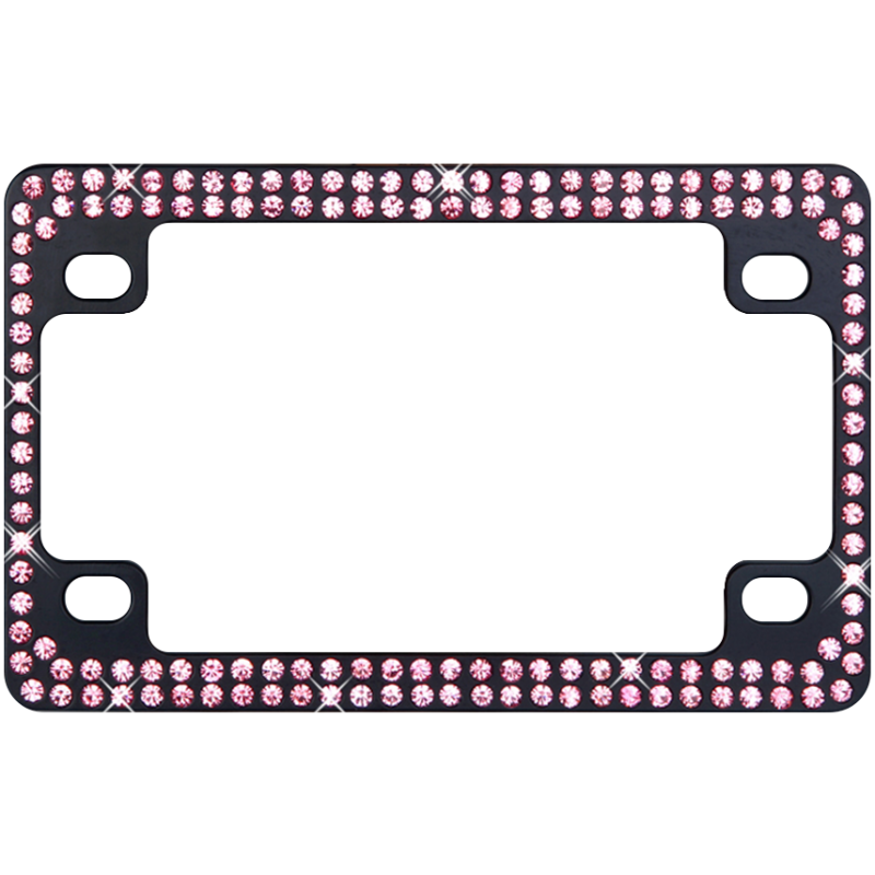 Black Metal Motorcycle Frame with Double Row Pink Crystals