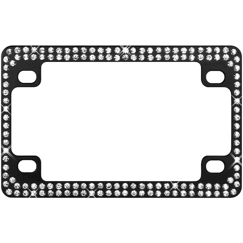 Black Metal Motorcycle Frame with Double Row White Crystals
