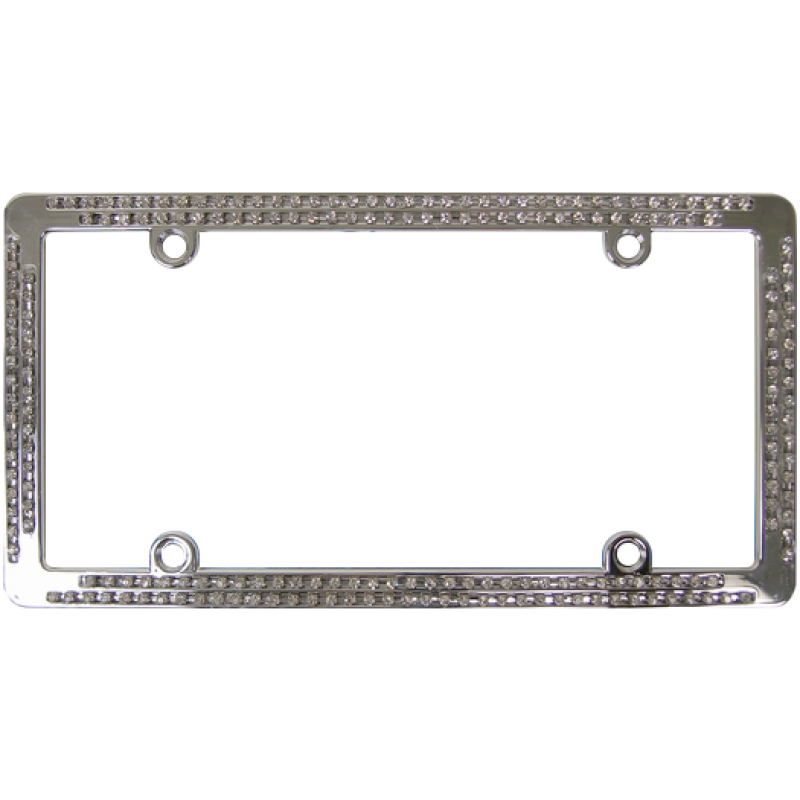 Chrome Coated Metal With Double Row White Diamonds License Plate Frame