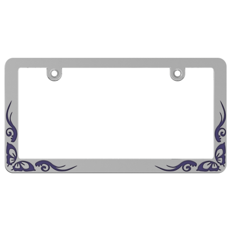 Chrome Coated Purple Butterfly Tattoo License Plate Frame
