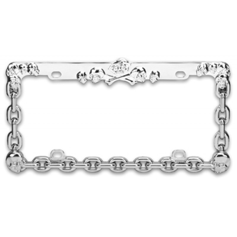 Chrome Coated Skull and Bones Chain License Plate Frame