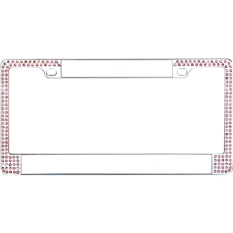 Blank Chrome Double Pink Diamond Bling License Plate Frame