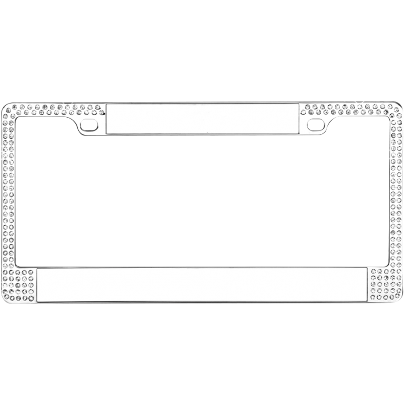 Blank Chrome Double Diamond Bling License Plate Frame