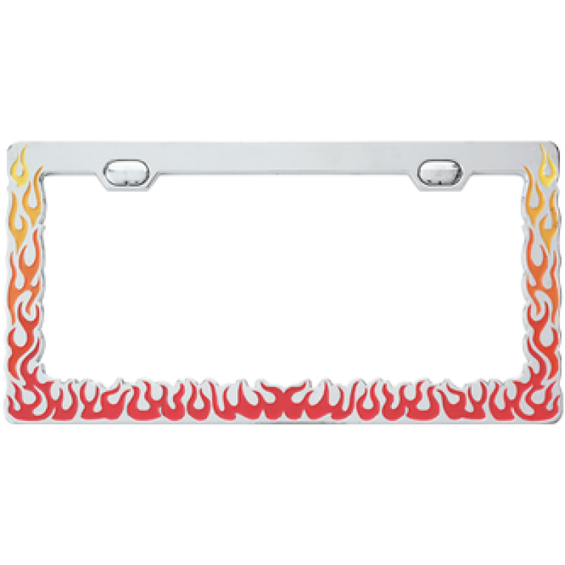 Chrome w/ Flames License Plate Frame