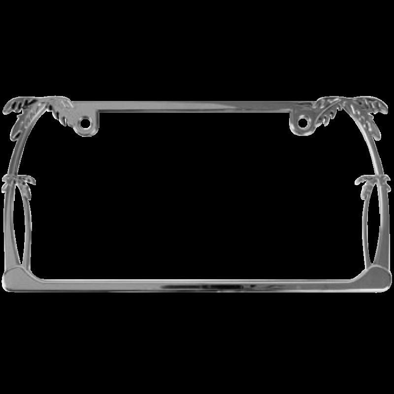 Palm Trees Chrome Metal License Plate Frame
