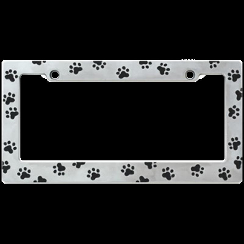 Paw Prints black on Chrome Prints License Plate Frame