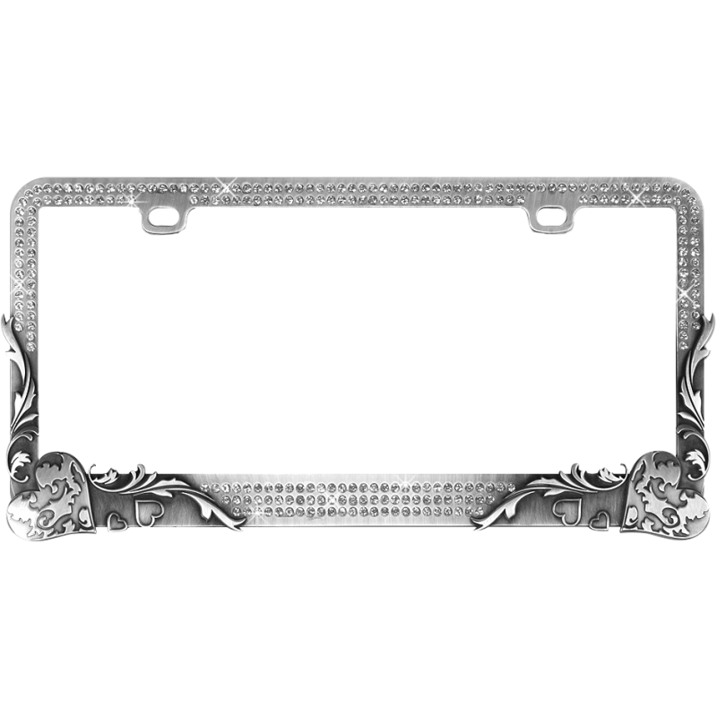 Vintage Heart Crystals on Stainless Gun Metal License Plate Frame