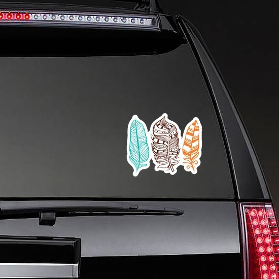 3 Colorful Feathers Sticker on a Rear Car Window example