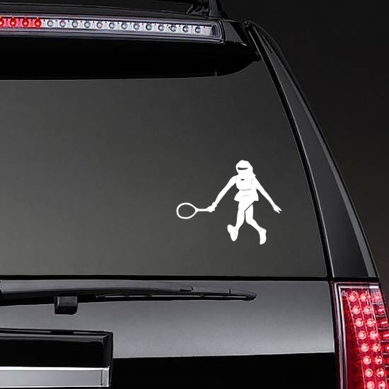 Amazing Girl Tennis Player Sticker on a Rear Car Window example