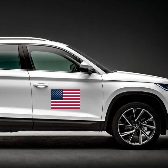 American Flag Magnet on a Car Side example