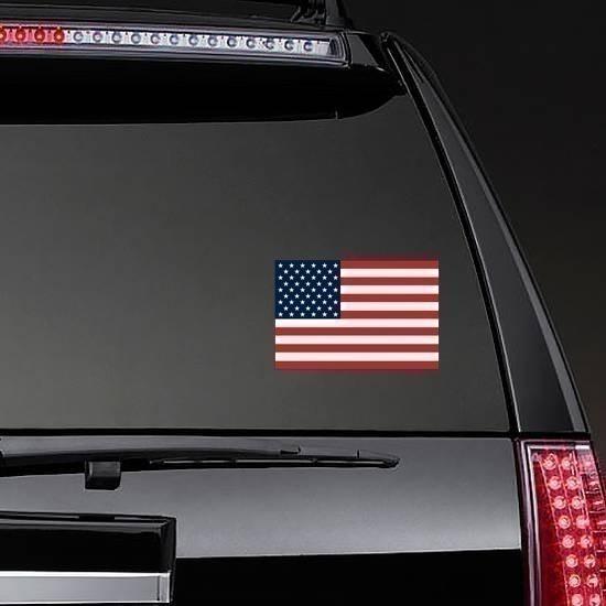 American Flag Sticker on a Rear Car Window example