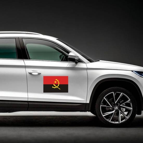 Angola Flag Magnet on a Car Side example