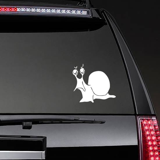 Angry Snail Sticker on a Rear Car Window example