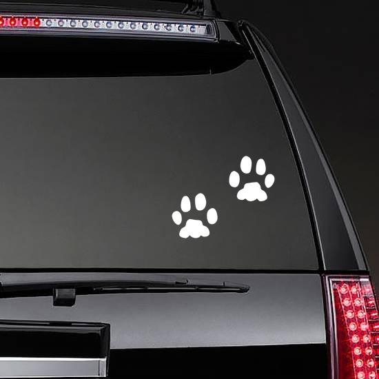 Animal Paw Prints Sticker on a Rear Car Window example