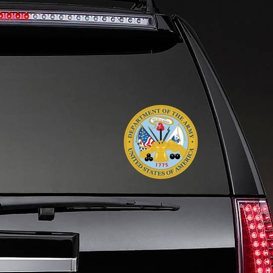 Army Seal Department Of The Army Sticker on a Rear Car Window example