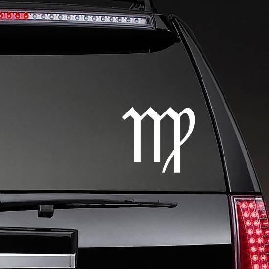 Astrology - Virgo Zodiac Symbol Sticker on a Rear Car Window example