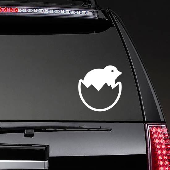 Baby Chick Chicken In Egg Sticker on a Rear Car Window example