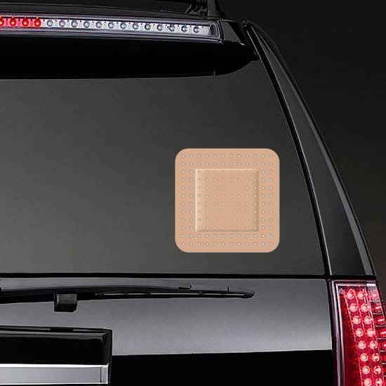 Standard Square Bandage Sticker on a Rear Car Window example