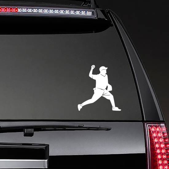 Baseball Pitcher Pitching Sticker on a Rear Car Window example