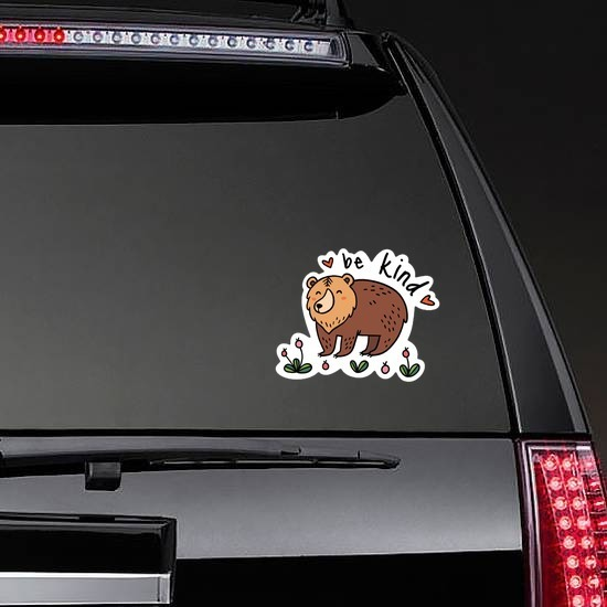 Be Kind Camping Sticker on a Rear Car Window example