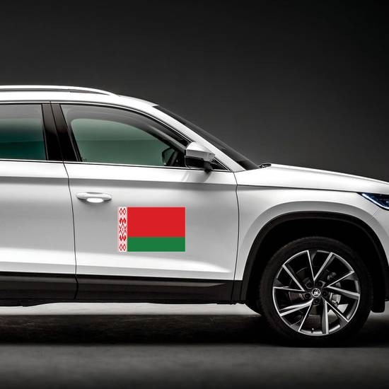 Belarus Country Flag Magnet on a Car Side example