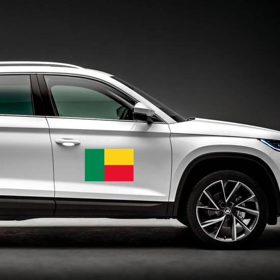 Benin Flag Magnet on a Car Side example