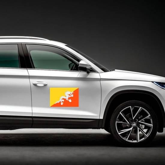 Bhutan Flag Magnet on a Car Side example