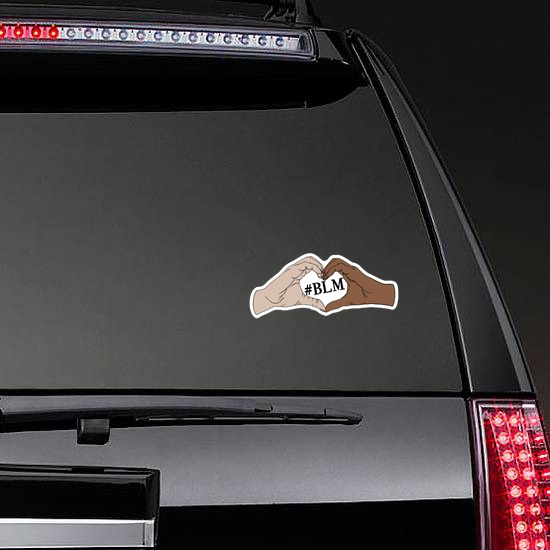 Black Lives Matter Heart Hands Sticker on a Rear Car Window example