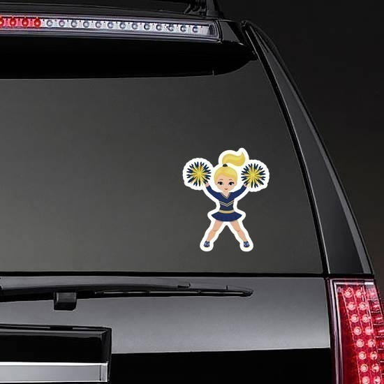 Blonde Blue and Yellow Cheerleading Sticker on a Rear Car Window example