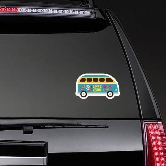 Blue Love and Peace Hippie Van Sticker on a Rear Car Window example