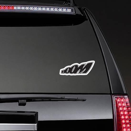 BOOM Comic Sticker on a Rear Car Window example
