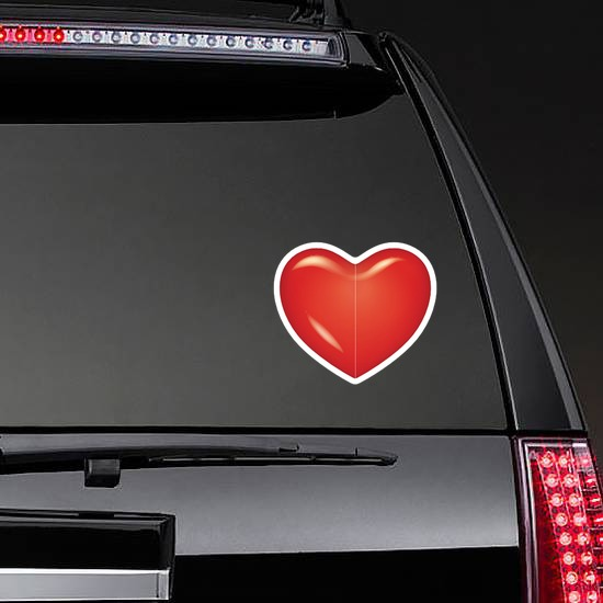 Bright Red Heart Sticker on a Rear Car Window example
