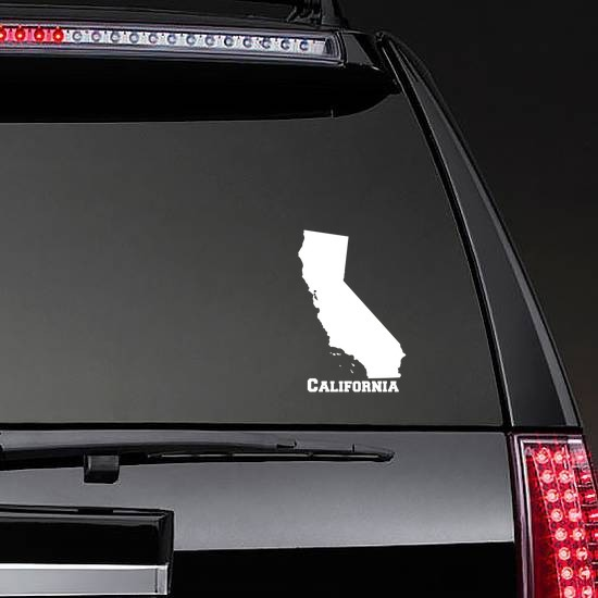 California State Sticker on a Rear Car Window example