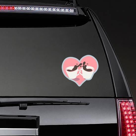Coffee Cups In Heart Sticker on a Rear Car Window example