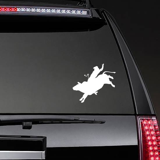 Cool Cowboy Rodeo Bull Rider Sticker on a Rear Car Window example