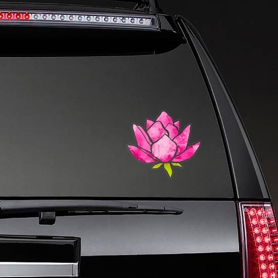 Cool Pink Lotus Flower Sticker on a Rear Car Window example