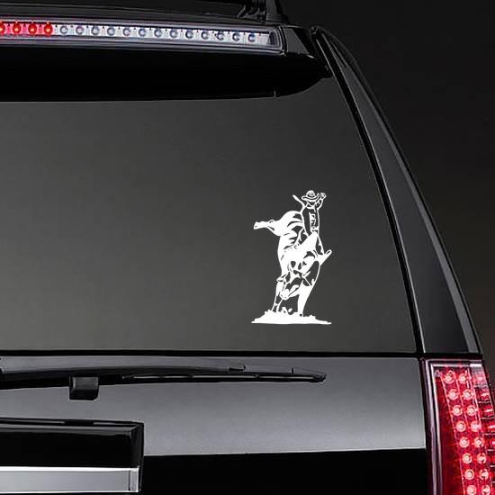 Cowboy Rodeo Bull Rider Sticker on a Rear Car Window example