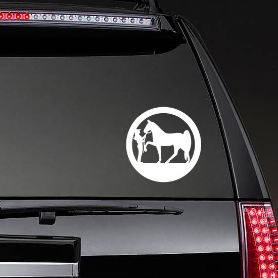 Cowgirl And Her Horse In A Circle Sticker on a Rear Car Window example
