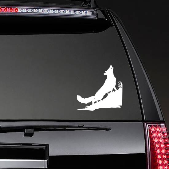 Coyote Wolf Howling In Grass Sticker on a Rear Car Window example