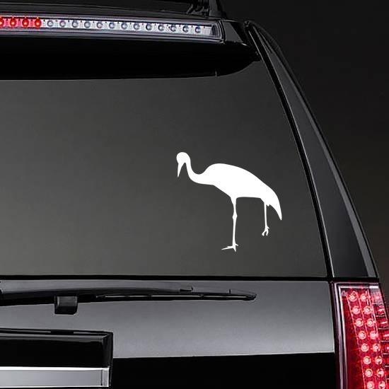 Crane Bird Sticker on a Rear Car Window example