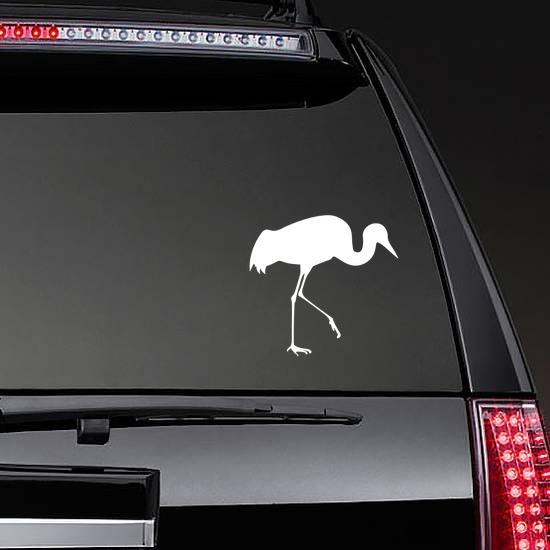 Crane Walking Sticker on a Rear Car Window example