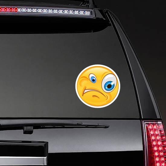 Crazy Confused Emoji Sticker on a Rear Car Window example