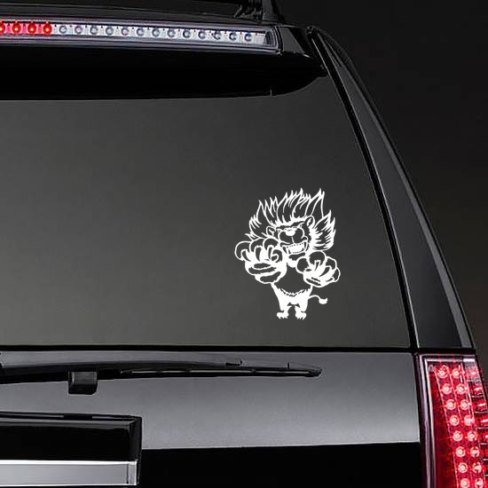 Crazy Lion Attacking Sticker on a Rear Car Window example