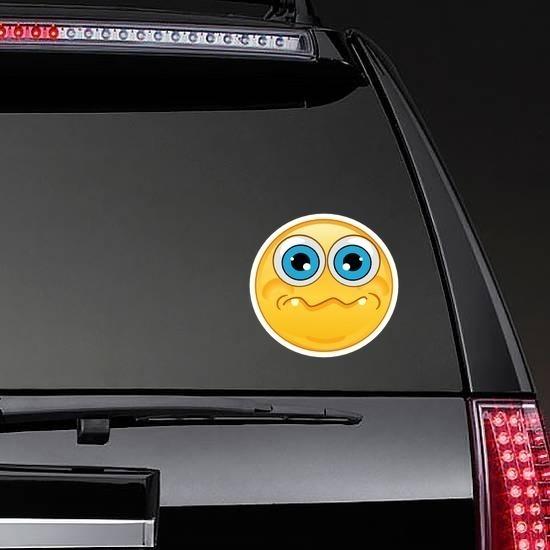 Crazy Quivering Lip Emoji Sticker on a Rear Car Window example