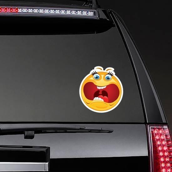 Crazy Scared Screaming Emoji Sticker on a Rear Car Window example