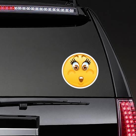 Crazy Worried Emoji Sticker on a Rear Car Window example