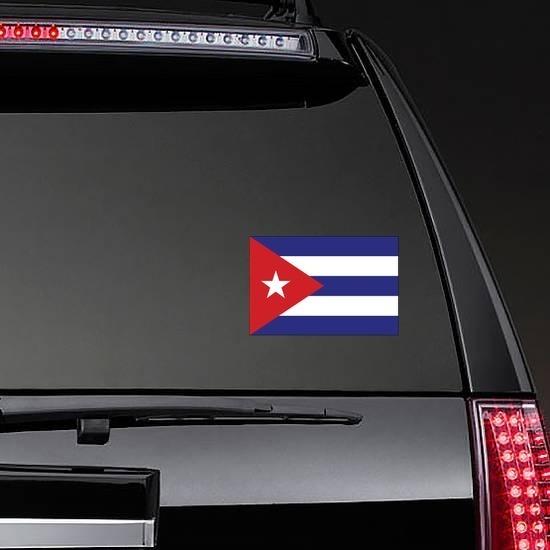 Cuba Flag Sticker on a Rear Car Window example