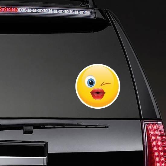 Cute Blowing a Kiss Emoji Sticker on a Rear Car Window example