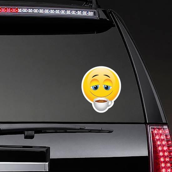 Cute Coffee Lover Emoji Sticker on a Rear Car Window example