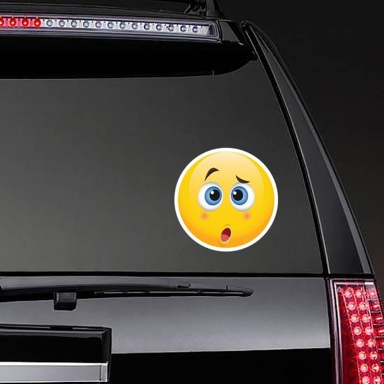 Cute Confused Emoji Sticker on a Rear Car Window example